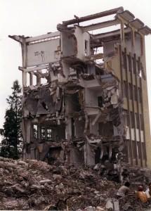 Building being torn down in Hangzhou, China