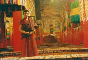 2001 China Aba monk in temple