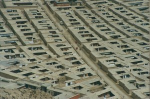 2001 China Aba monk living quarters from above