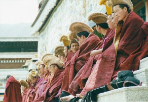 2001 China Aba monks preparing for ceremony